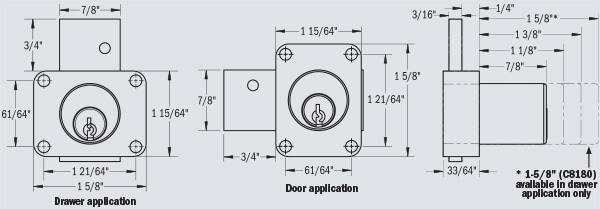 Door and Drawer applications available in BHMA Grade 1 and Grade 2 Certified Dead Bolt Locks