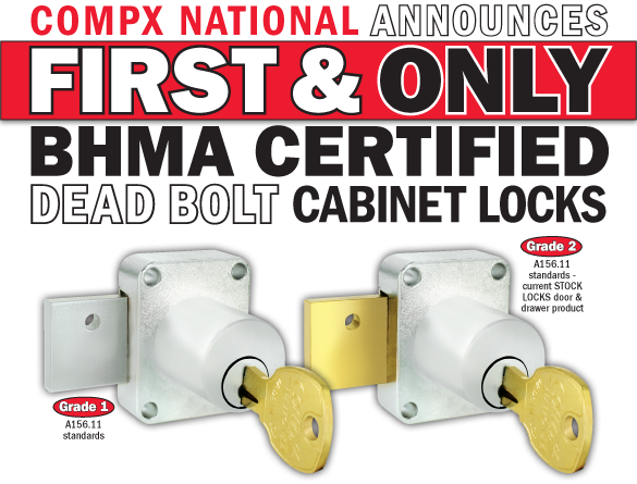 CompX Security Products Announces First and Only BHMA Certified Dead Bolt Cabinet Locks