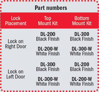 CompX Timberline Double Door Latch part numbers: DL-200 (black finish: lock on right door and top mount kit, lock on left door and bottom mount kit), DL-300 (black finish: lock on right door and bottom mount kit, lock on left door and top mount kit), DL-200-W (white finish: lock on right door and top mount kit, lock on left door and bottom mount kit), DL-300-W (white finish: lock on right door and bottom mount kit, lock on left door and top mount kit)